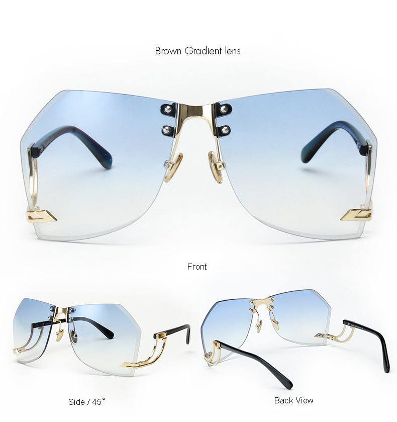 Tye Oversized Rimless Sunglasses-Blue Lens / Gold Frame