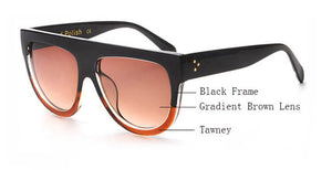 Amaro Flat Top Gradient Sunglasses-Brown Lens / Black Tawney Frame