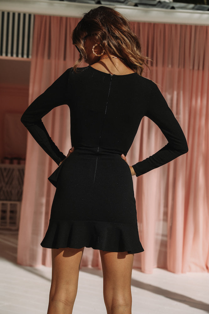 Urbana Black Long Sleeve Dress