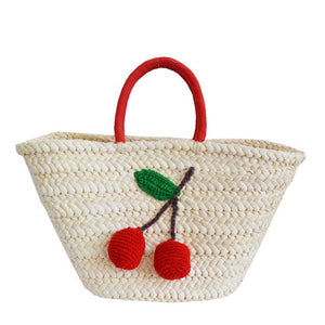 Cherries Straw Tote Beach Bag