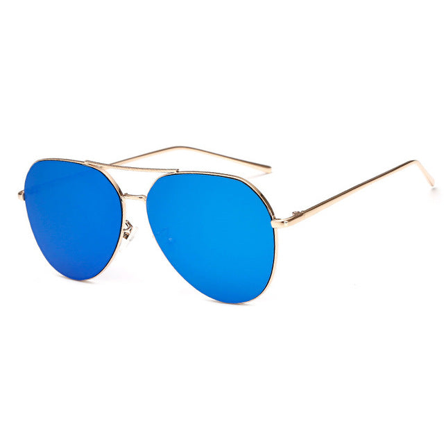 Briella Mirrored Aviator Sunglasses-Blue Lens / Gold Frame