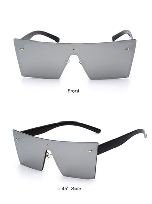 Lilya Rectangular Sunglasses-Silver Lens / Black Frame
