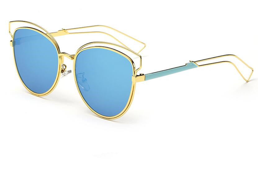 Tamzen Reflective Cat Eye Sunglasses-blue