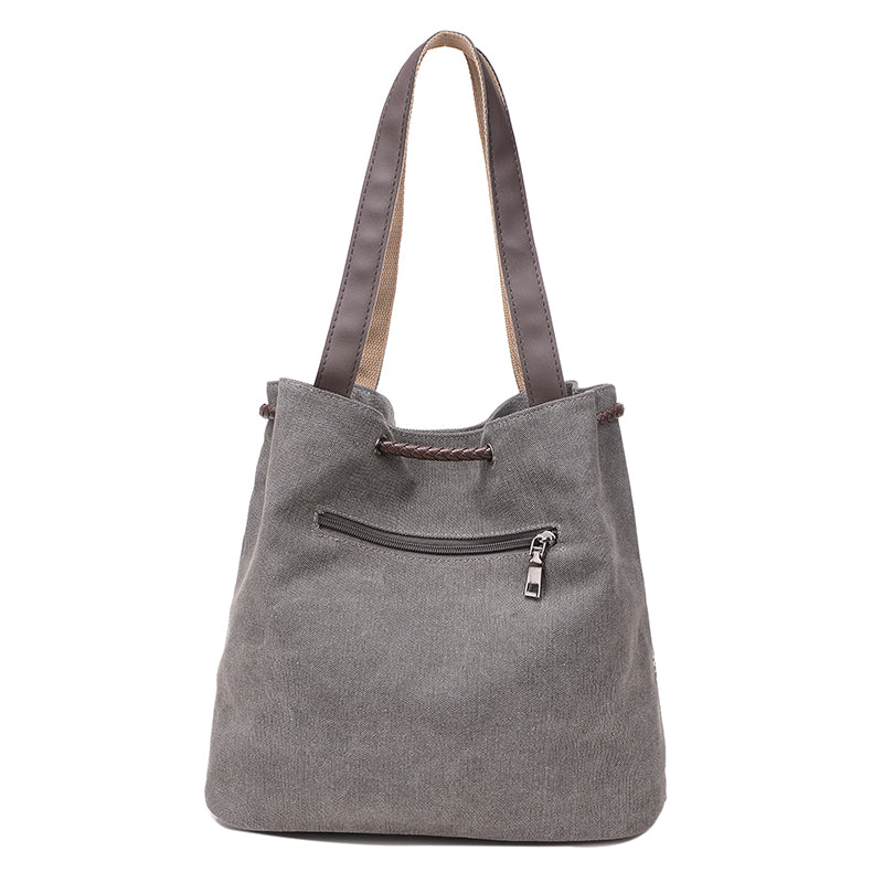 Gray Canvas Bucket Bag