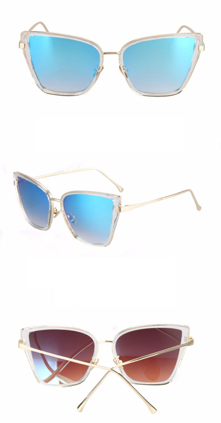 Black Cat Retro Sunglasses-Sky Blue Lens / Clear Frame