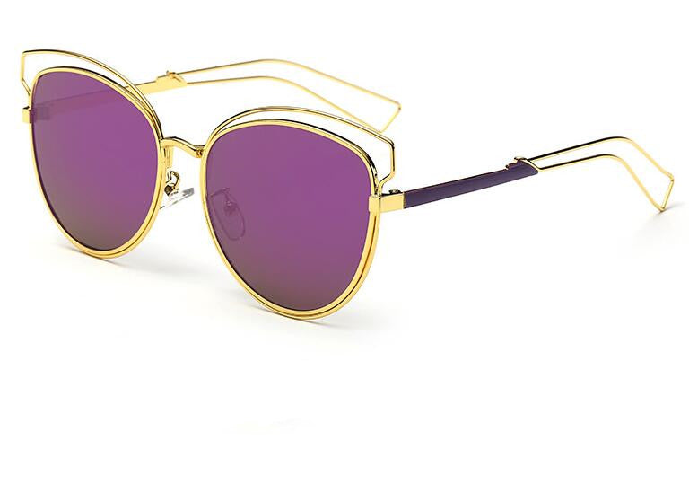 Tamzen Reflective Cat Eye Sunglasses-purple