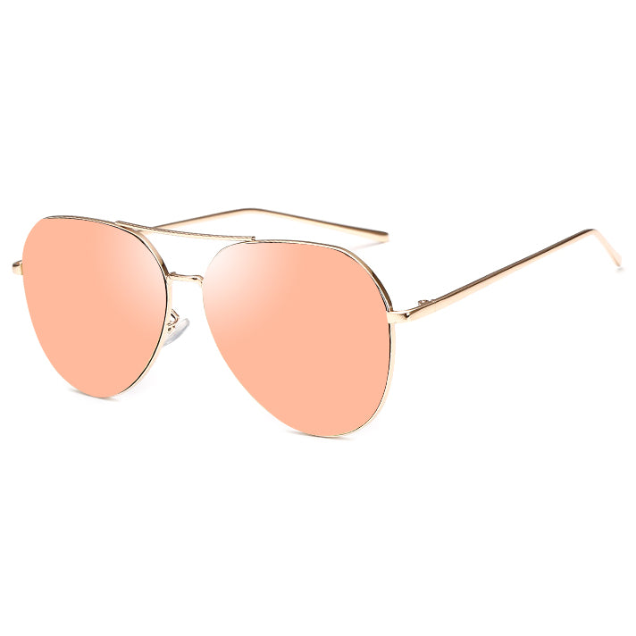 Mirrored Aviator Sunglasses - Rose Gold