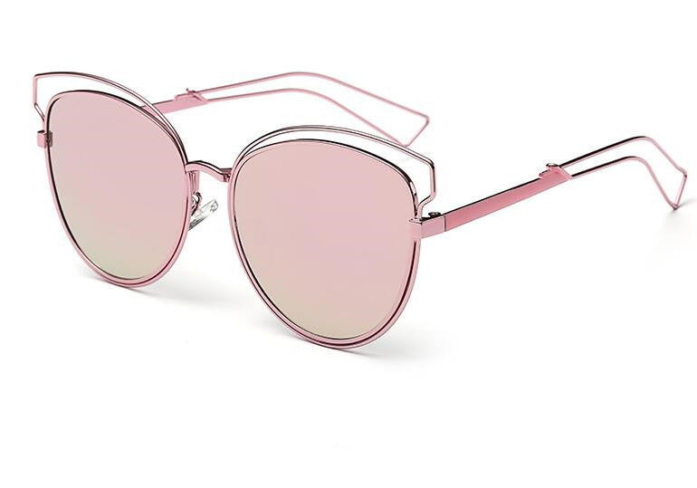 Tamzen Reflective Cat Eye Sunglasses-pink
