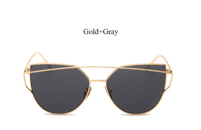 Celeste Cat Eye Mirrored Sunglasses-grey lans gold frame