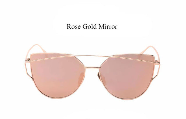 Celeste Cat Eye Mirrored Sunglasses-rose lans gold frame
