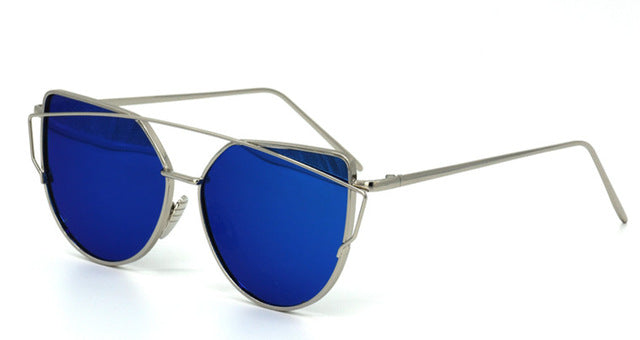 Celeste Cat Eye Mirrored Sunglasses-Dark Blue Lens / Silver Frame