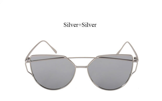 Celeste Cat Eye Mirrored Sunglasses-silver lans silver frame