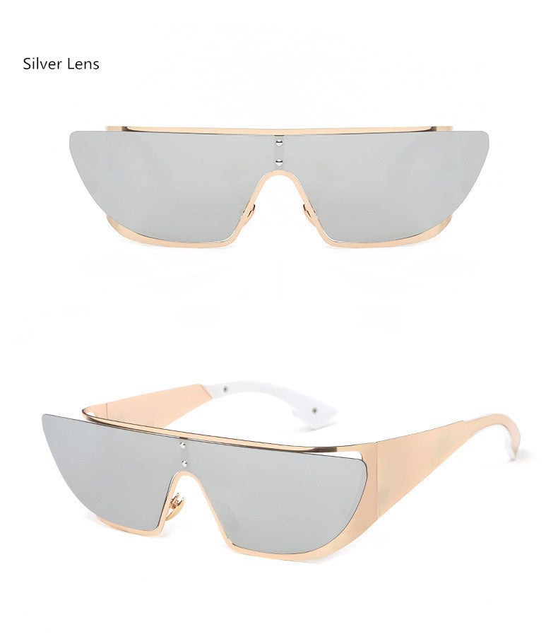 Fashionista Wrap Around Sunglasses-Silver Lens / Beige Frame