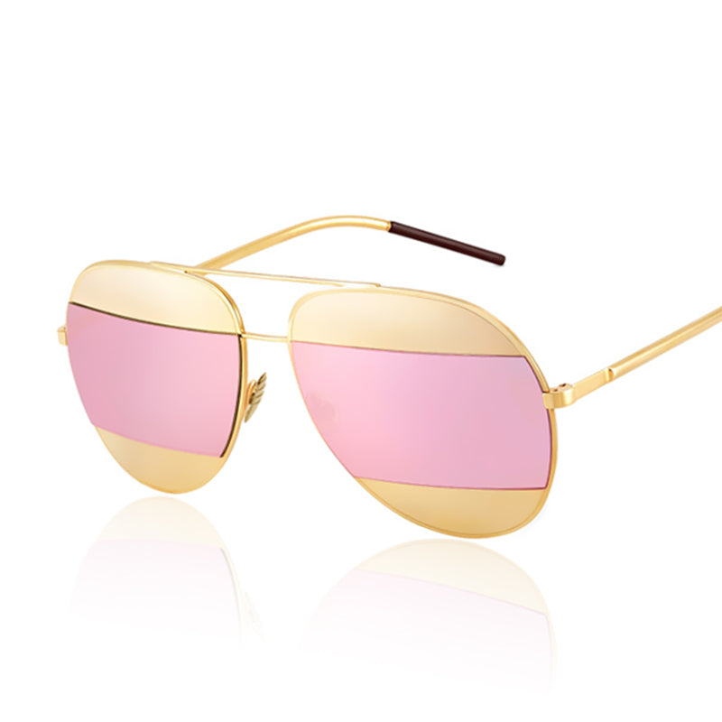 Lidka Dual Color Mirrored Pilot Sunglasses-Pink Lens / Gold Frame