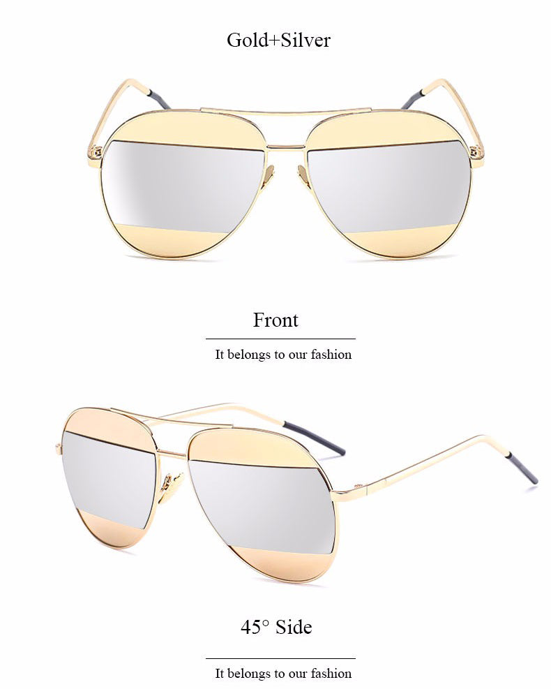 Lidka Dual Color Mirrored Pilot Sunglasses-Silver Lens / Gold Frame