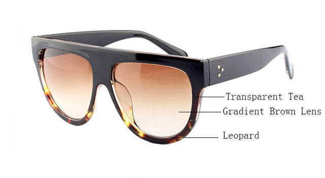 Amaro Flat Top Gradient Sunglasses-Brown Lens / Tea Leopard Frame