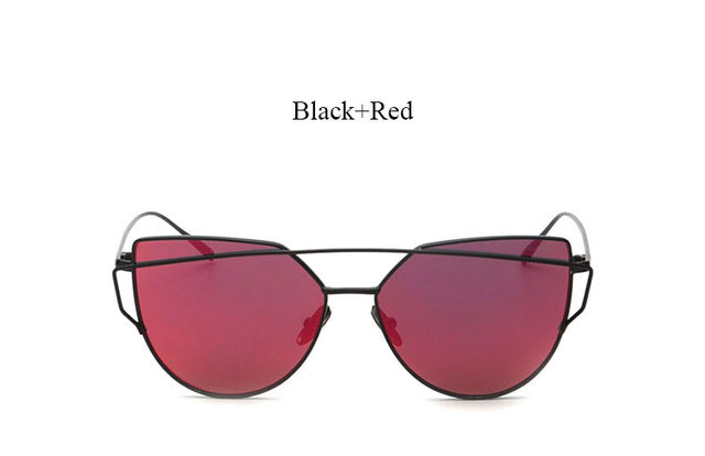 Celeste Cat Eye Mirrored Sunglasses-red lans black frame
