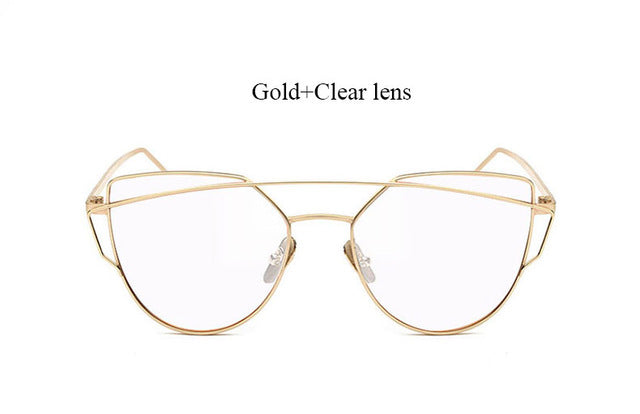 Celeste Cat Eye Mirrored Sunglasses-Clear lans Gold frame