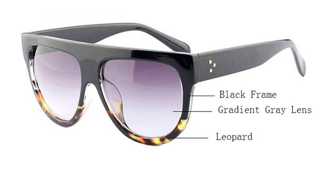 Amaro Flat Top Gradient Sunglasses-Grey Lens / Black Leopard Frame
