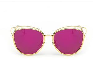 Tamzen Reflective Cat Eye Sunglasses-Red Lens / Gold Frame