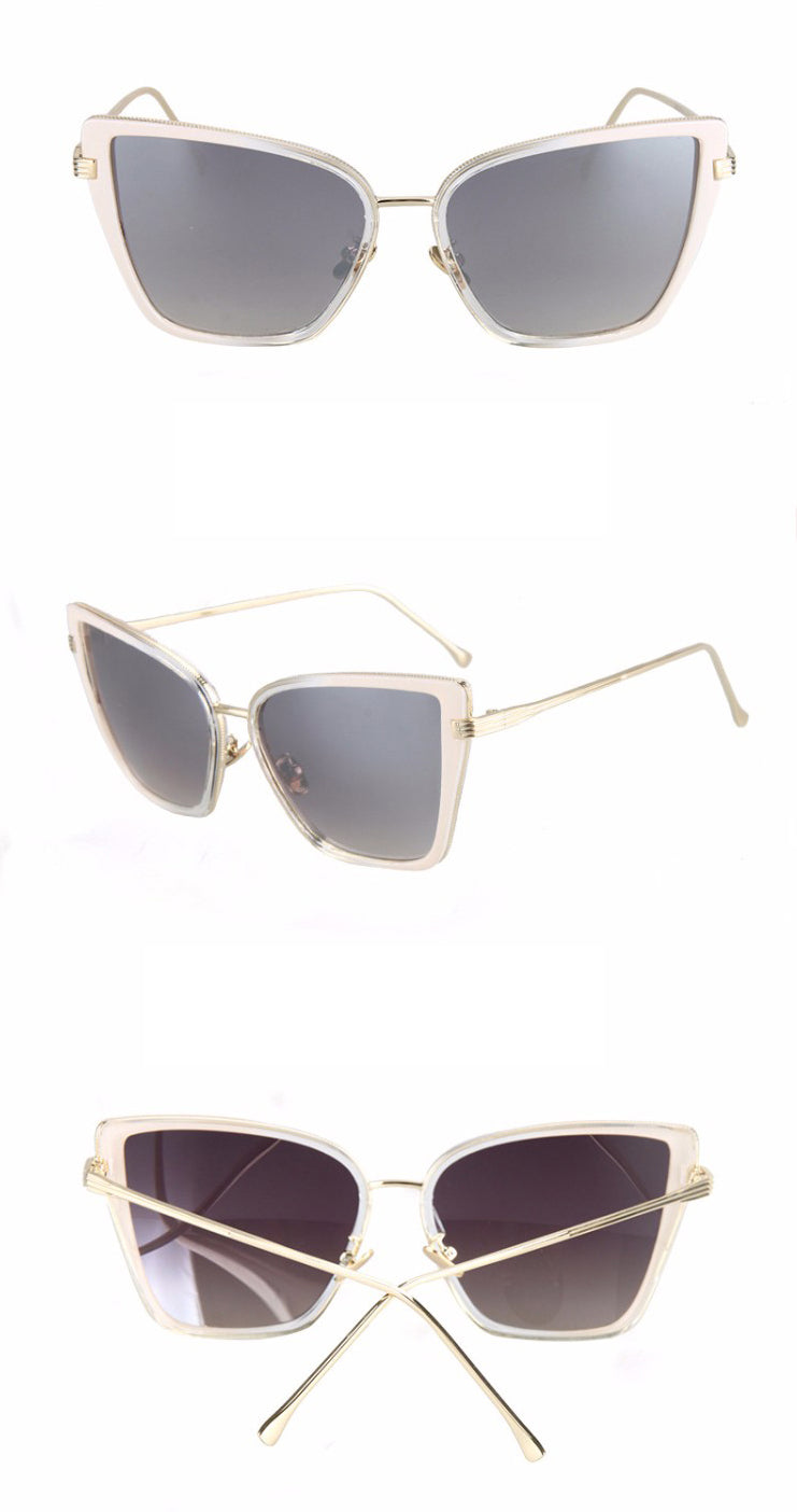 Black Cat Retro Sunglasses-Grey Lens / Light Pink Frame