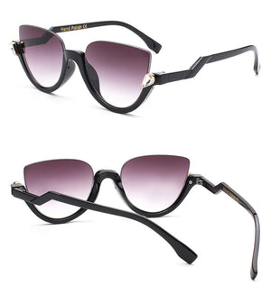 Hanna Half Frame Sunglasses-Purple Lens / Black Frame