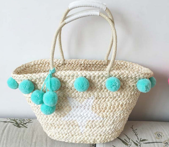 pom pom tassel straw beach bag