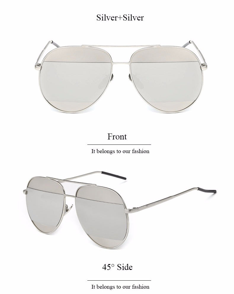 Lidka Dual Color Mirrored Pilot Sunglasses-Silver Lens / Silver Frame