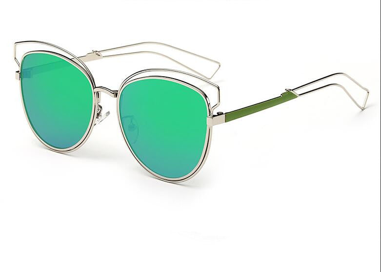 Tamzen Reflective Cat Eye Sunglasses-Green Lens / Silver Frame
