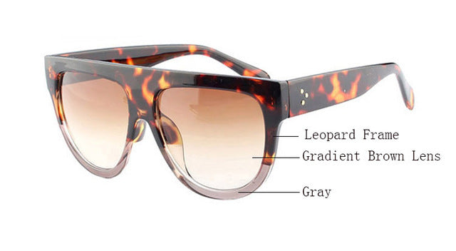 Amaro Flat Top Gradient Sunglasses-Brown Lens / Leopard Grey Frame