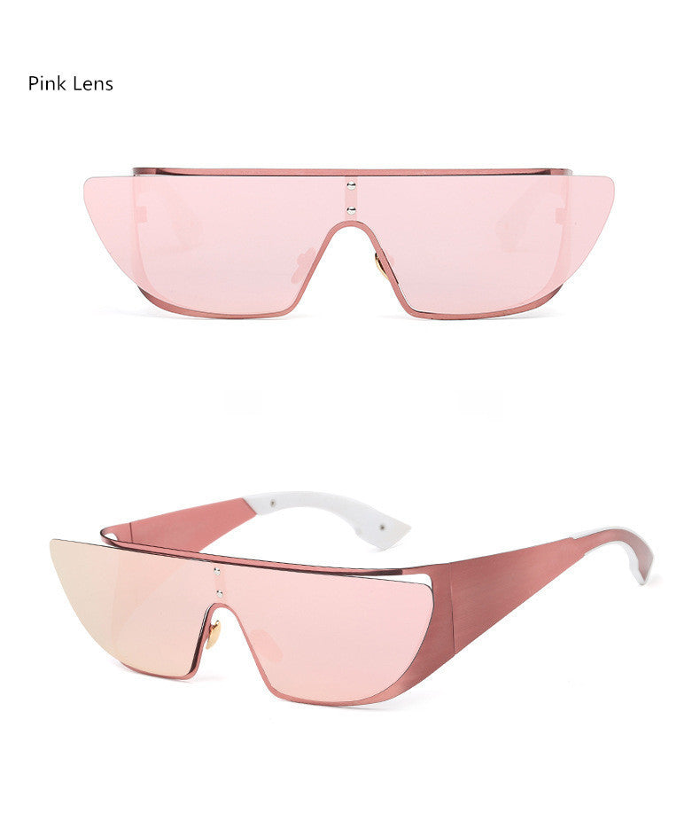 Fashionista Wrap Around Sunglasses-Pink Lens / Pink Frame