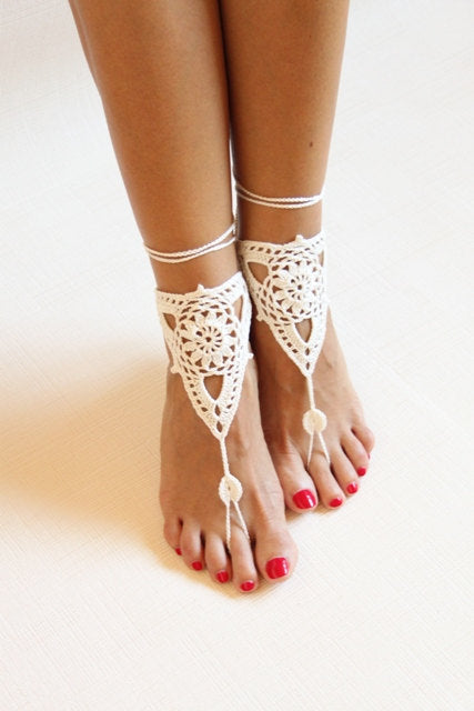 Aria Crochet Footless Sandals-White