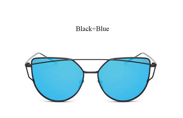 Celeste Cat Eye Mirrored Sunglasses-blue lans black frame
