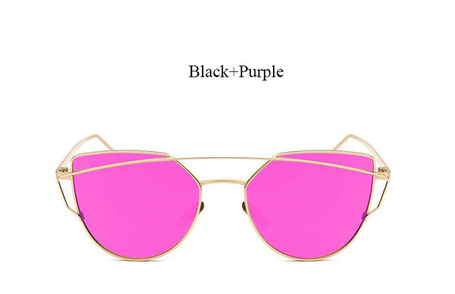 Celeste Cat Eye Mirrored Sunglasses-purple lans gold frame