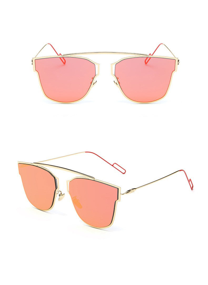 Yuuna Colored Mirrored Sunglasses-rose