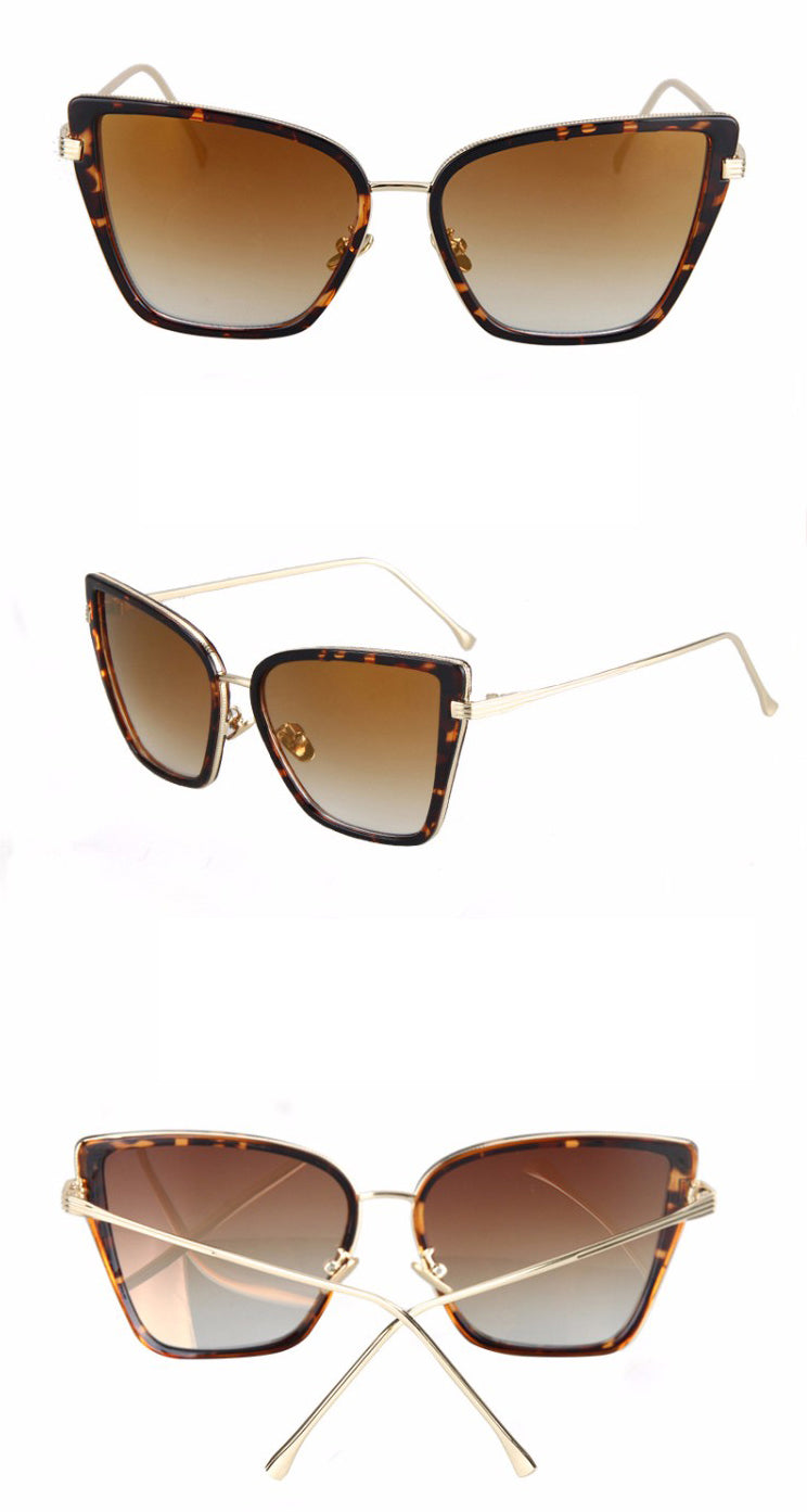 Black Cat Retro Sunglasses-Brown Lens / leopard Frame