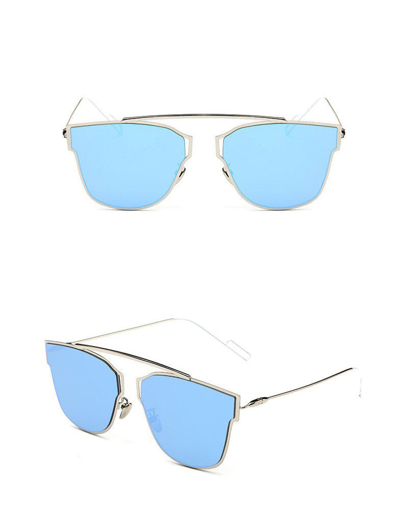 Yuuna Colored Mirrored Sunglasses-blue