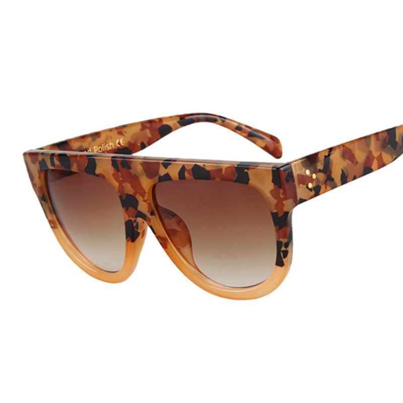 Amaro Flat Top Gradient Sunglasses-Brown Lens / Yellow Leopard Frame