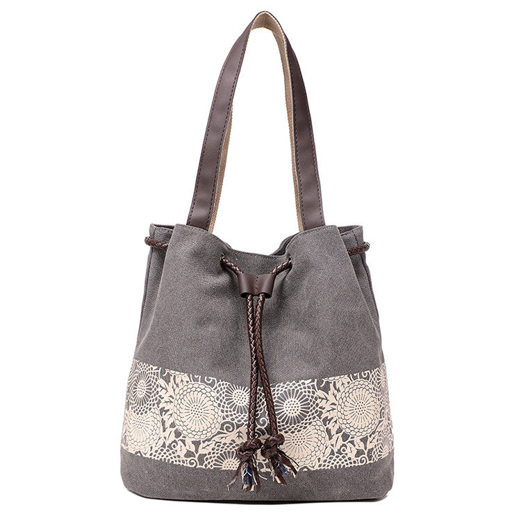 Grey Canvas Bucket Bag