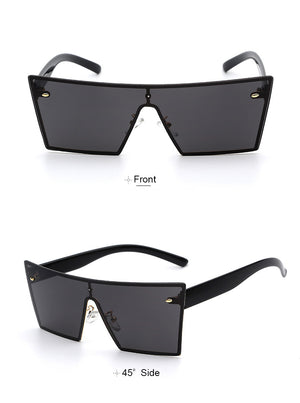 Lilya Rectangular Sunglasses-Black Lens / Black Frame