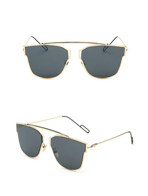 Yuuna Colored Mirrored Sunglasses-black