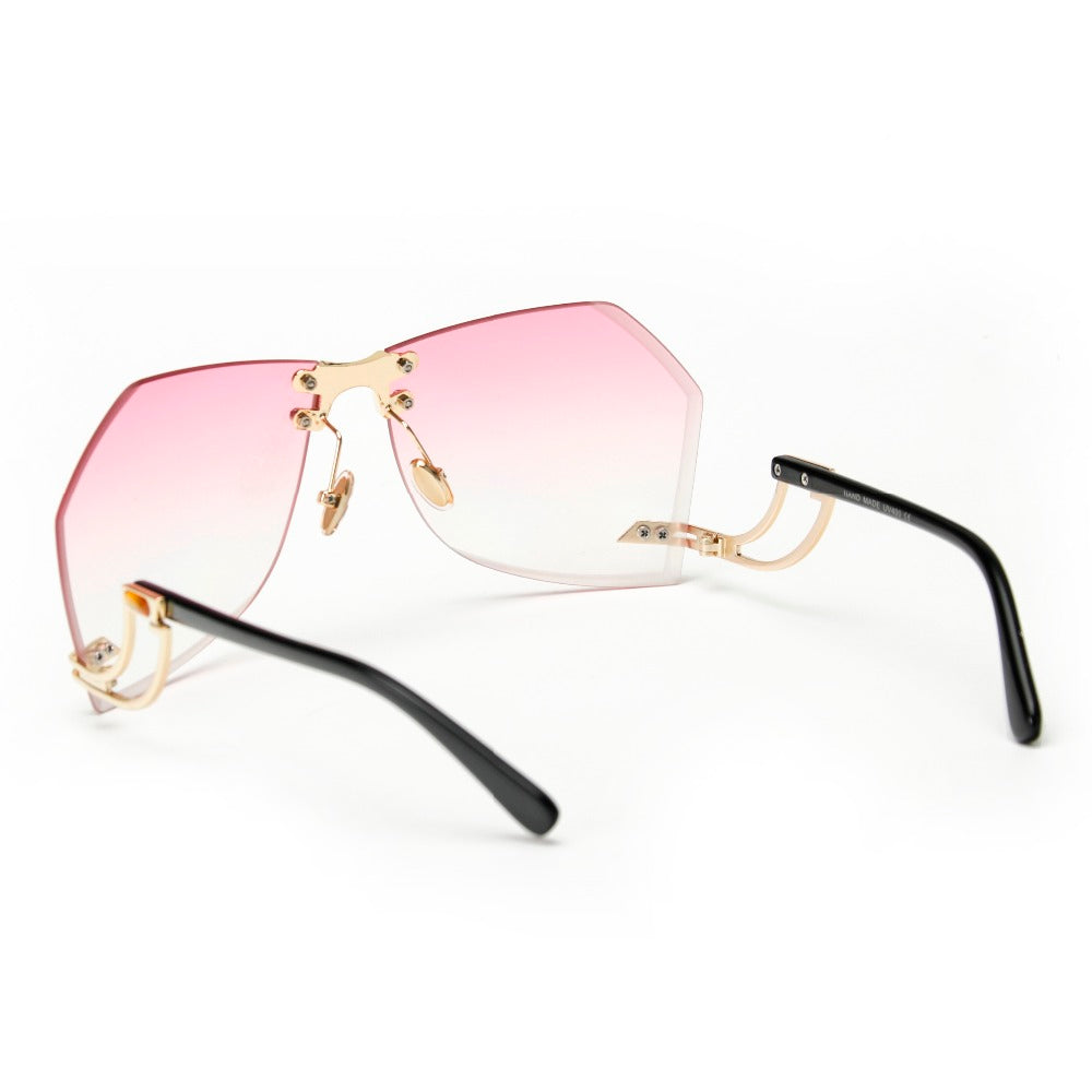 Tye Oversized Rimless Sunglasses-Pink Lens / Gold Frame