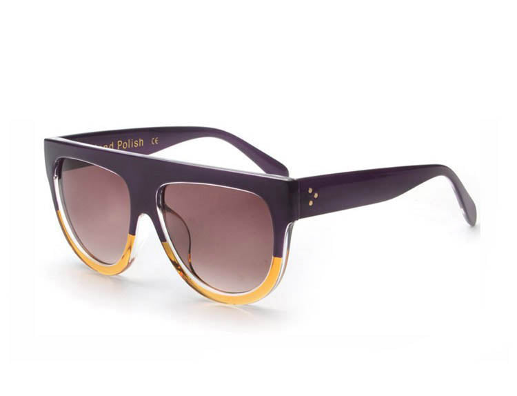 Amaro Flat Top Gradient Sunglasses-Brown Lens / Violet Yellow Frame