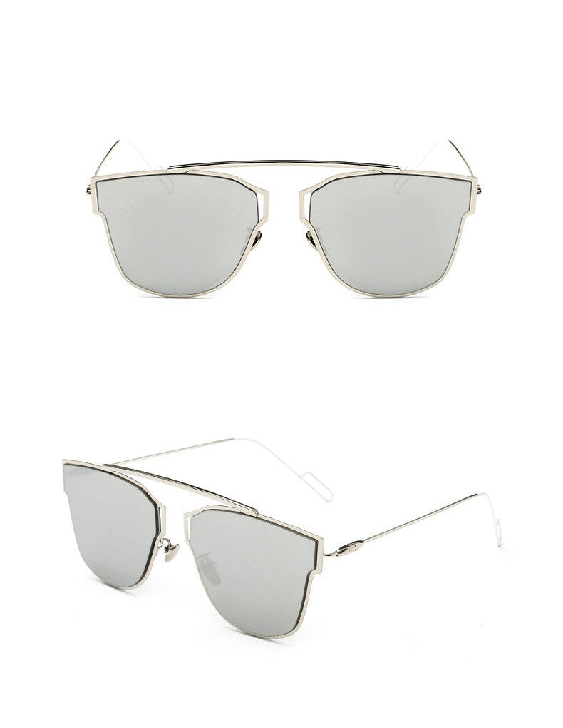Yuuna Colored Mirrored Sunglasses-silver