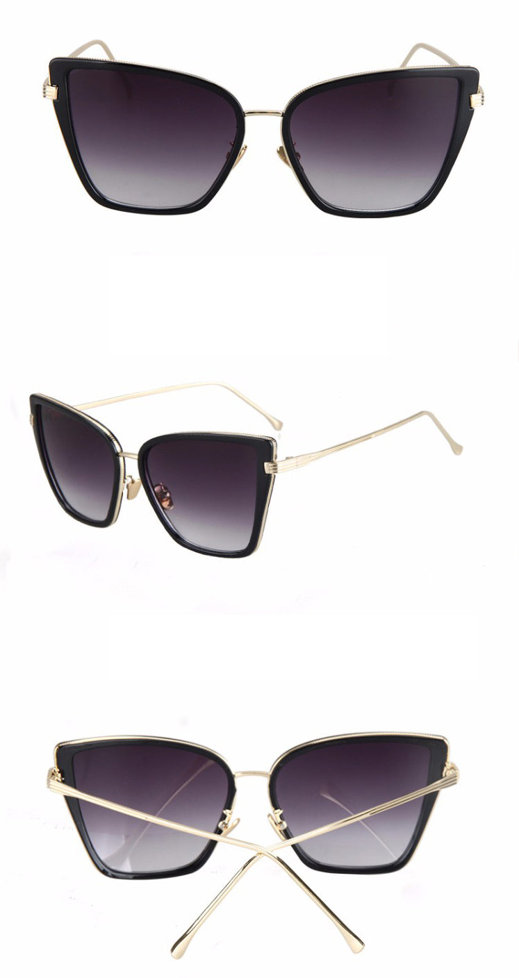 Black Cat Retro Sunglasses-Black Lens / Black Frame
