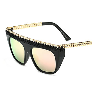 Big Fashion Oversized Sunglasses-Pink Lens / Black Frame