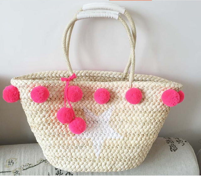 pink pom pom beach bag