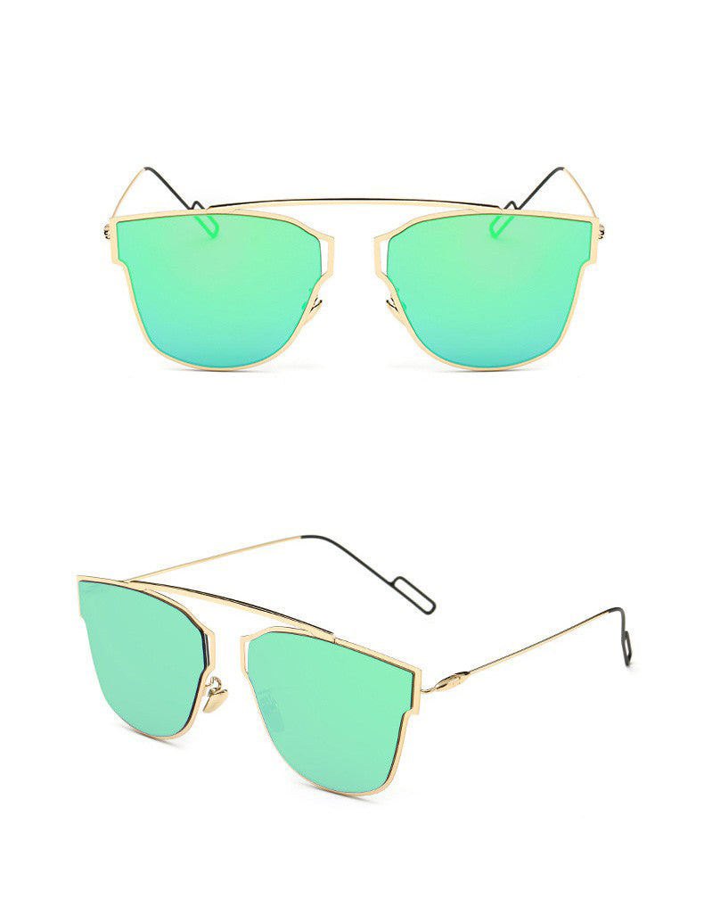 Yuuna Colored Mirrored Sunglasses-green