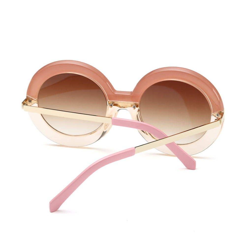 Valeria Round Sunglasses-Brown Lens / Pink Frame