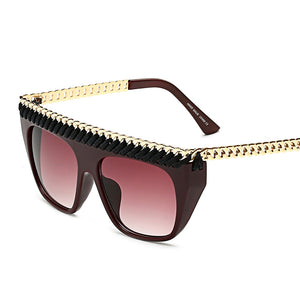 Big Fashion Oversized Sunglasses-Brown Lens / Red Frame